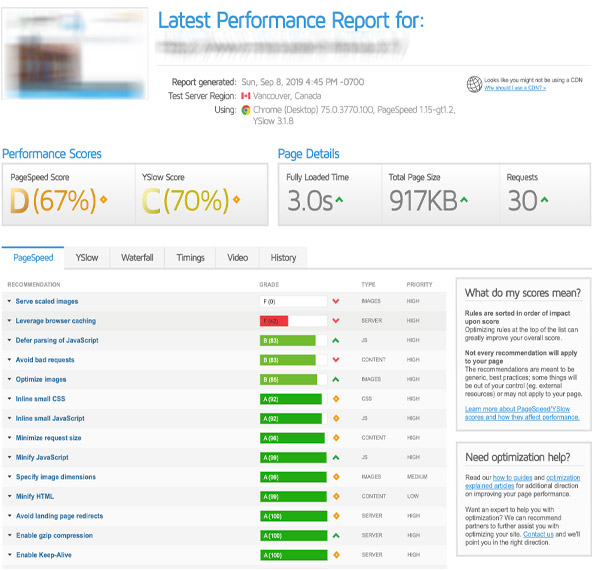 Audit Référencement Gratuit, exemple d'analyse de la rapidité du chargement des pages web