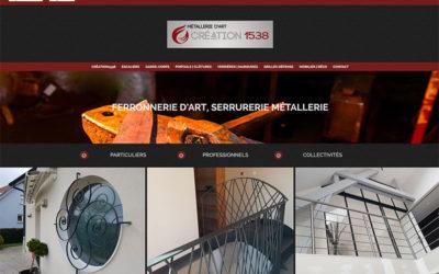 Site Internet de la ferronnerie d'art Création 1538 à Vieux-Charmont